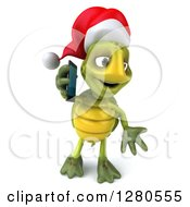 Clipart Of A 3d Christmas Tortoise Shrugging And Talking On A Smart Cell Phone Royalty Free Illustration