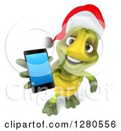 Clipart Of A 3d Christmas Tortoise Holding Up A Smart Cell Phone Royalty Free Illustration