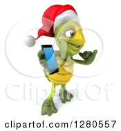 Clipart Of A 3d Christmas Tortoise Facing Right Gesturing Call Me And Holding A Smart Cell Phone Royalty Free Illustration