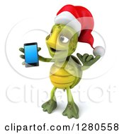 Clipart Of A 3d Christmas Tortoise Facing Left Gesturing Call Me And Holding A Smart Cell Phone Royalty Free Illustration