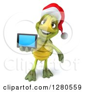 Clipart Of A 3d Christmas Tortoise Holding Out A Tablet Computer Or A Smart Cell Phone Royalty Free Illustration