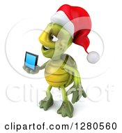 Clipart Of A 3d Christmas Tortoise Facing Left And Holding Out A Tablet Computer Or A Smart Cell Phone Royalty Free Illustration