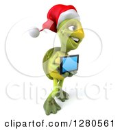 Clipart Of A 3d Christmas Tortoise Facing Right And Holding Out A Tablet Computer Or A Smart Cell Phone Royalty Free Illustration