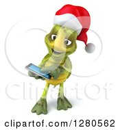 Clipart Of A 3d Christmas Tortoise Swiping On A Tablet Computer Or A Smart Cell Phone Royalty Free Illustration