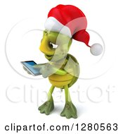Clipart Of A 3d Christmas Tortoise Facing Left And Swiping On A Tablet Computer Or A Smart Cell Phone Royalty Free Illustration