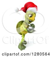 Clipart Of A 3d Christmas Tortoise Facing Right And Swiping On A Tablet Computer Or A Smart Cell Phone Royalty Free Illustration