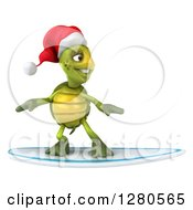 Clipart Of A 3d Christmas Tortoise Surfing Royalty Free Illustration