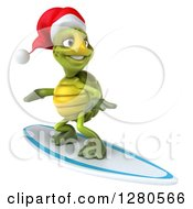 Clipart Of A 3d Christmas Tortoise Surfing 2 Royalty Free Illustration