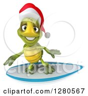 Clipart Of A 3d Christmas Tortoise Surfing 3 Royalty Free Illustration