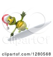 Clipart Of A 3d Christmas Tortoise Surfing 4 Royalty Free Illustration