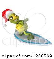 Clipart Of A 3d Christmas Tortoise Surfing 5 Royalty Free Illustration