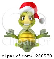 Clipart Of A 3d Christmas Tortoise Meditating Royalty Free Illustration