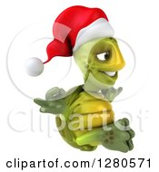 Clipart Of A 3d Christmas Tortoise Facing Right And Meditating Royalty Free Illustration
