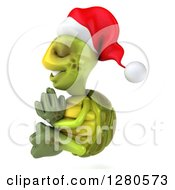 Clipart Of A 3d Christmas Tortoise Facing Left And Meditating Royalty Free Illustration