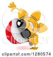 Clipart Of A 3d Christmas Sun Wearing Sunglasses And Cartwheeling Royalty Free Illustration