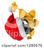 Clipart Of A 3d Christmas Sun Wearing Sunglasses And Cartwheeling 2 Royalty Free Illustration