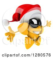 Clipart Of A 3d Christmas Sun Wearing Sunglasses And Facing Right With Open Arms Royalty Free Illustration