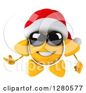 Clipart Of A 3d Christmas Sun Wearing Sunglasses And Presenting To The Left Royalty Free Illustration