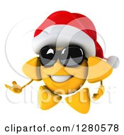 Clipart Of A 3d Christmas Sun Wearing Sunglasses And Presenting To The Left 2 Royalty Free Illustration