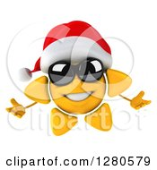Clipart Of A 3d Christmas Sun Wearing Sunglasses And Welcoming Royalty Free Illustration