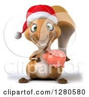 Clipart Of A 3d Christmas Squirrel Holding A Piggy Bank Royalty Free Illustration