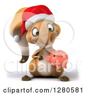 Clipart Of A 3d Christmas Squirrel Holding And Looking Down At A Piggy Bank Royalty Free Illustration