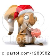 Clipart Of A 3d Christmas Squirrel Facing Slightly Right Holding And Looking Down At A Piggy Bank Royalty Free Illustration