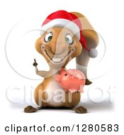 Clipart Of A 3d Christmas Squirrel Holding A Piggy Bank And A Finger Up Royalty Free Illustration
