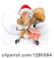 Clipart Of A 3d Christmas Squirrel Holding Up A Thumb And A Piggy Bank Royalty Free Illustration