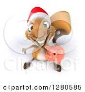 Clipart Of A 3d Christmas Squirrel Holding Up A Thumb Down And A Piggy Bank Royalty Free Illustration