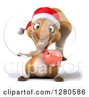 Clipart Of A 3d Christmas Squirrel Holding A Piggy Bank And Presenting Royalty Free Illustration