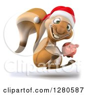 Clipart Of A 3d Christmas Squirrel Facing Right Jumping And Holding A Piggy Bank Royalty Free Illustration