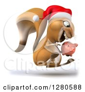 Clipart Of A 3d Christmas Squirrel Facing Right Jumping Pointing To And Holding A Piggy Bank Royalty Free Illustration