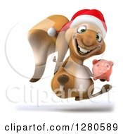 Clipart Of A 3d Christmas Squirrel Facing Right Jumping Holding A Thumb Up And A Piggy Bank Royalty Free Illustration