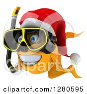3d Snorkeling Christmas Goldfish Facing Left