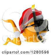 3d Snorkeling Christmas Goldfish Facing Right