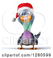 Clipart Of A 3d Christmas Pigeon Royalty Free Illustration