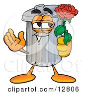 Clipart Picture Of A Garbage Can Mascot Cartoon Character Holding A Red Rose On Valentines Day by Toons4Biz