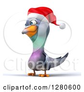 Clipart Of A 3d Christmas Pigeon Facing Left Royalty Free Illustration