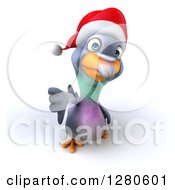 Clipart Of A 3d Christmas Pigeon Holding Up A Thumb Down Royalty Free Illustration