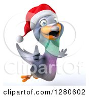 Clipart Of A 3d Christmas Pigeon Holding A Thumb Up And Flying To The Right Royalty Free Illustration