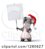 Clipart Of A 3d Christmas Koala Holding And Pointing To A Blank Sign Royalty Free Illustration
