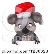 Clipart Of A 3d Christmas Koala Pointing Down Over A Sign Royalty Free Illustration