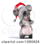Clipart Of A 3d Full Length Christmas Koala Pointing Around A Sign Royalty Free Illustration