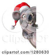 Clipart Of A 3d Christmas Koala Pointing Around A Sign Royalty Free Illustration