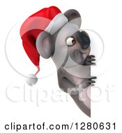 Clipart Of A 3d Christmas Koala Looking Around A Sign Royalty Free Illustration