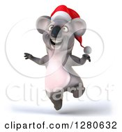 Clipart Of A 3d Christmas Koala Jumping Royalty Free Illustration