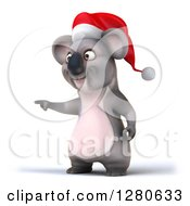 Clipart Of A 3d Christmas Koala Pointing To The Left Royalty Free Illustration