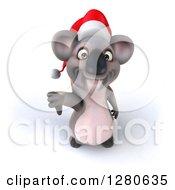 Clipart Of A 3d Christmas Koala Holding A Thumb Down Royalty Free Illustration