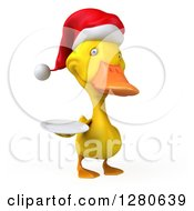 Clipart Of A 3d Yellow Christmas Duck Facing Right And Holding A Plate Royalty Free Illustration